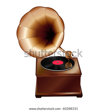 Realistic  vector illustration of a vintage gramophone. (you can find the same vector illustration in my portfolio)