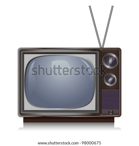 Realistic vintage TV isolated on white background, retro