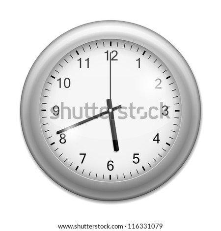 Realistic Wall Clock isolated on white. Illustration