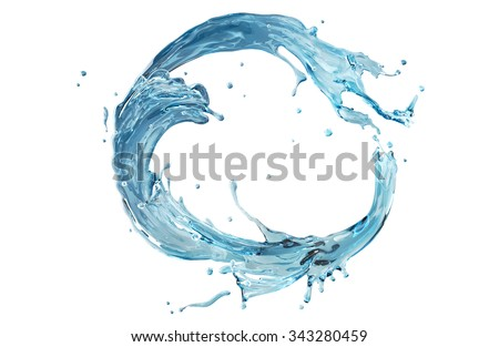 realistic water splashing round frame. Aqua shape bent in circle. Clear liquid splash isolated on white background ready for design. - stock photo