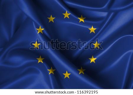 Realistic wavy flag of European Union. - stock photo