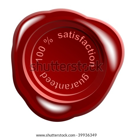 realistic wax seal with text: satisfaction