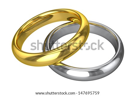 Realistic Wedding Rings - Yellow And White Gold - stock photo