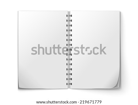 Realistic white blank open notepad isolated on white background  illustration - stock photo