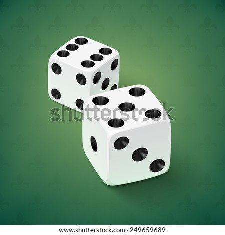 Realistic white dice icon on green background - stock photo
