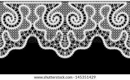 Realistic white lace, seamless border on black, raster illustration
