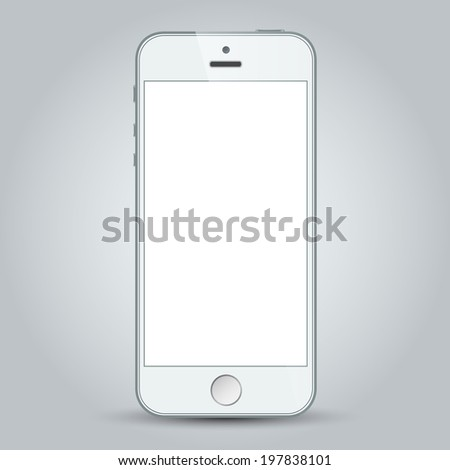 Realistic white mobile phone with blank screen in similar to iphone style isolated on gray. - stock photo
