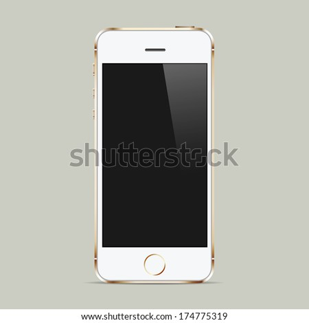 Realistic white mobile phone with blank screen. Raster version - stock photo
