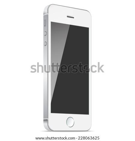 Realistic white mobiles phones with blank screen isolated on white background. Modern concept smartphone device with digital display.  - stock photo