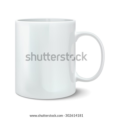 Realistic white mug. Rasterized Copy - stock photo
