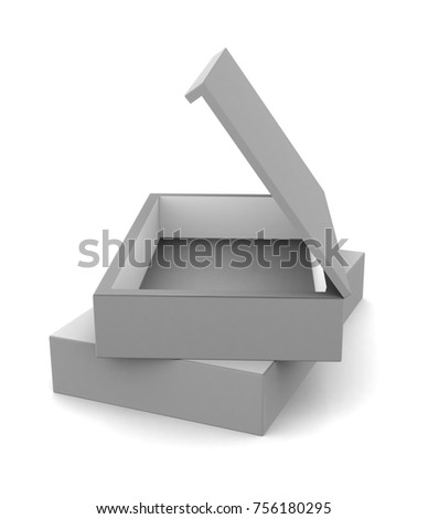 Realistic white open blank box isolated on white background. 3d illustration