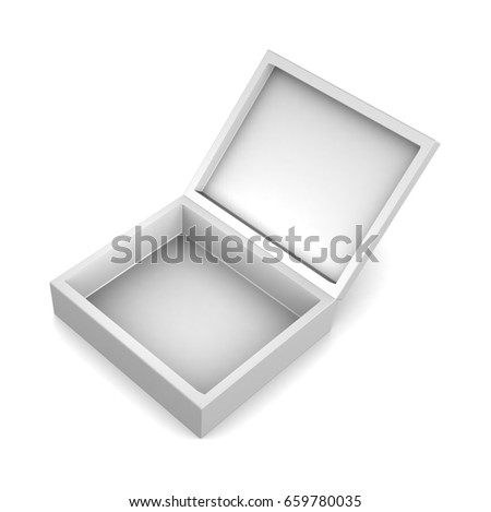 Realistic white open box isolated on white background. 3d illustration