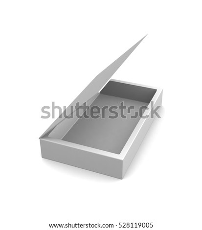 Realistic white open box isolated on white background. 3d render