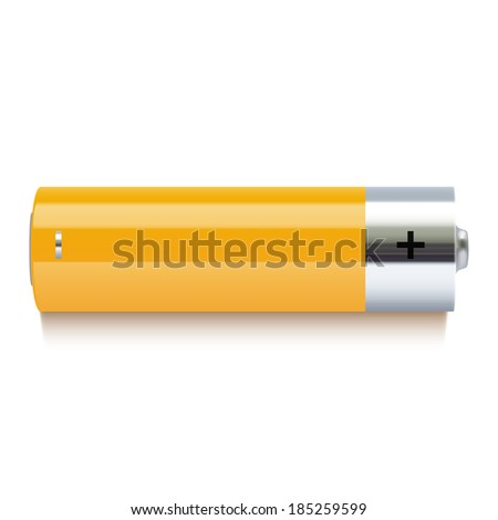 Realistic yellow battery icon - stock photo