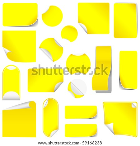 realistic yellow stickers with peeling corners