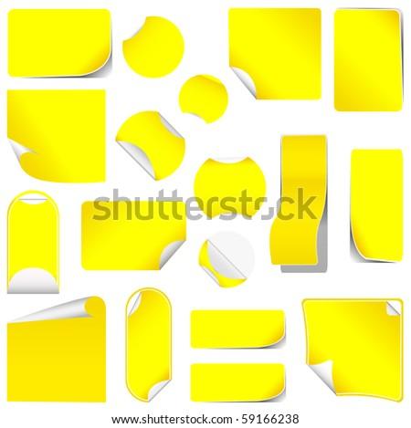 realistic yellow stickers with peeling corners - stock photo
