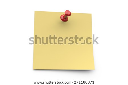 Realistic yellow sticky note with red pin on white background - stock photo