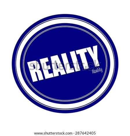 REALITY white stamp text on blue - stock photo