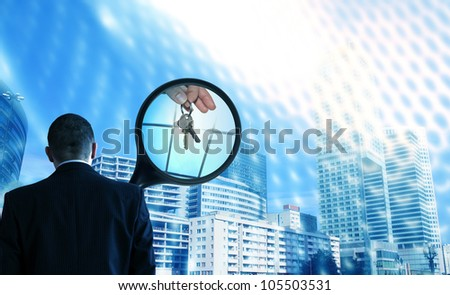realtor at work concept with magnifier looking for new house - stock photo