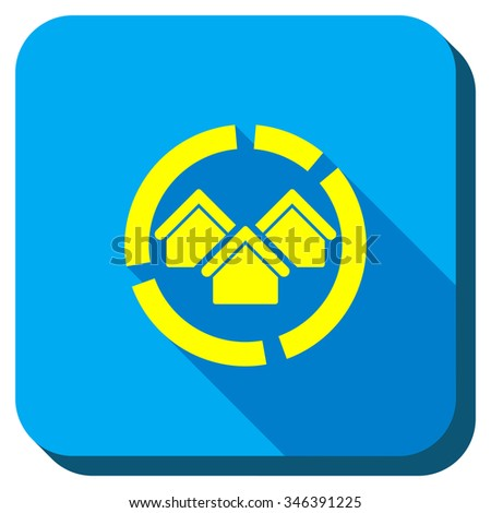 Realty Diagram glyph icon. Style is square rounded button, glyph symbol with longshadow, white background. - stock photo