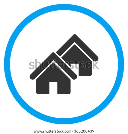 Realty glyph icon. Style is bicolor flat circled symbol, blue and gray colors, rounded angles, white background. - stock photo