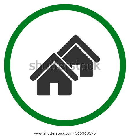 Realty glyph icon. Style is bicolor flat circled symbol, green and gray colors, rounded angles, white background. - stock photo