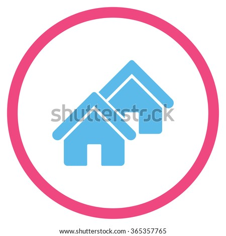 Realty glyph icon. Style is bicolor flat circled symbol, pink and blue colors, rounded angles, white background. - stock photo