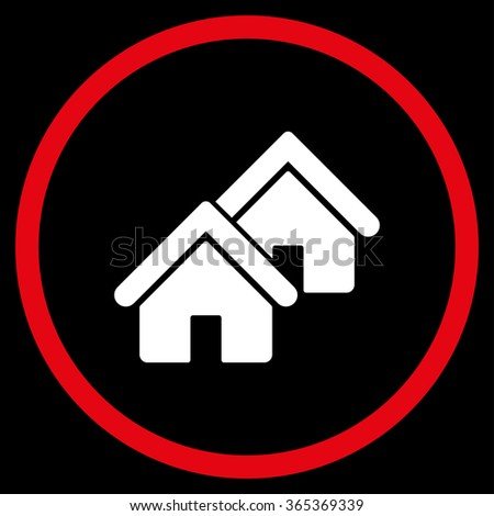 Realty glyph icon. Style is bicolor flat circled symbol, red and white colors, rounded angles, black background. - stock photo