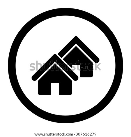 Realty glyph icon. This rounded flat symbol is drawn with black color on a white background. - stock photo