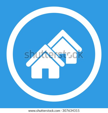 Realty glyph icon. This rounded flat symbol is drawn with white color on a blue background. - stock photo