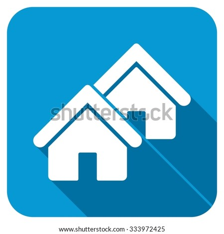 Realty icon. Longshadow style is blue button with white symbol. - stock photo