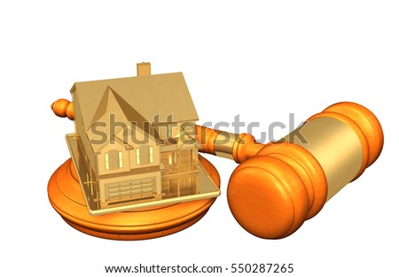 Realty Legal Gavel Concept 3D Illustration