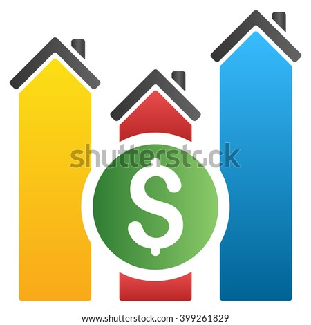 Realty Price Report glyph toolbar icon for software design. Style is a gradient icon symbol on a white background. - stock photo
