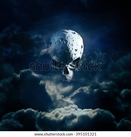 Reaper moon rising / 3D render of cratered skull moon in night sky