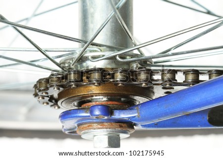 Rear bicycle gear and chain - stock photo