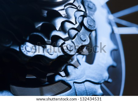 Rear bike cassette with chain - stock photo