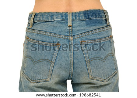 Rear body part with faded blue jeans on. Isolated on white, clipping path included