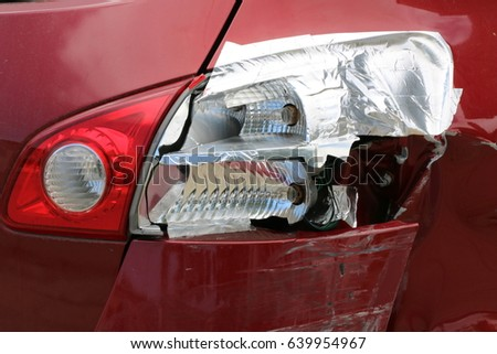 Rear bumper tail lights red car stock photo download now 639954967 rear bumper and tail lights of a red car following a car accident bumper is aloadofball Choice Image