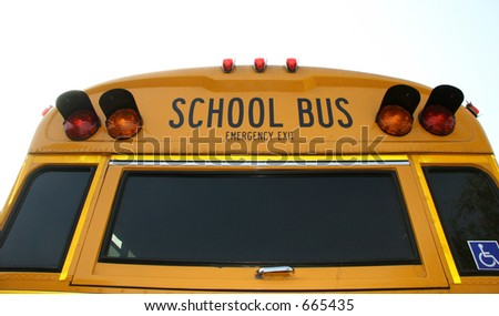 Rear end of school bus - stock photo