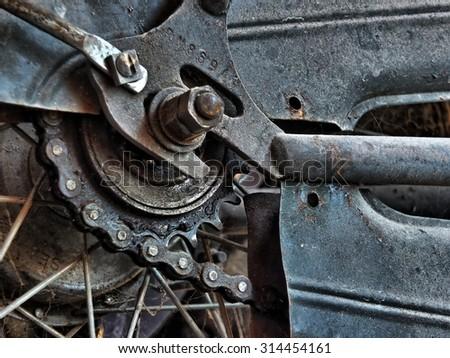 Rear gear of old bike high dynamic range - stock photo