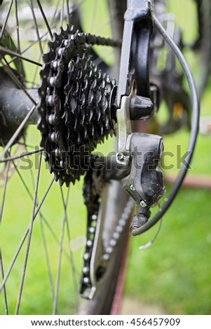 Rear mountain bike cassette on the wheel with chain.