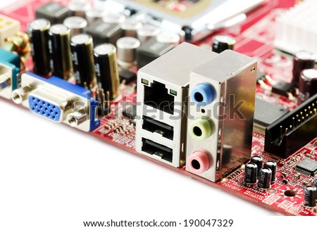 Rear of the motherboard close-up,  audio,usb,network. - stock photo