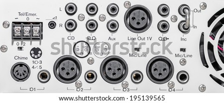 Rear panel of mixer with input and output port - stock photo