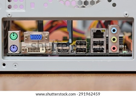 Rear ports for connection to a computer motherboard - stock photo
