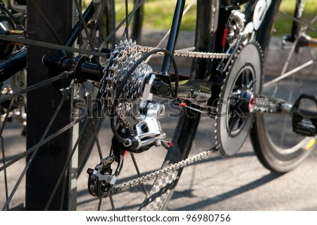 Rear racing bike cassette on the wheel with chain - stock photo