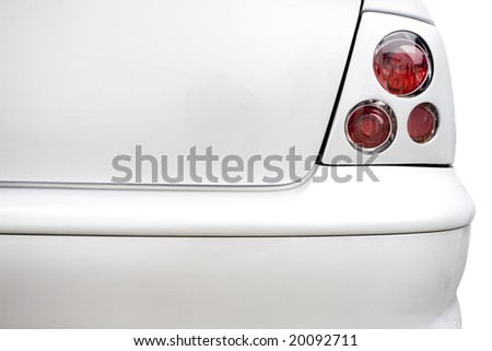 Rear red lights on plain white car. Car styling and tuning concept with copy space - stock photo