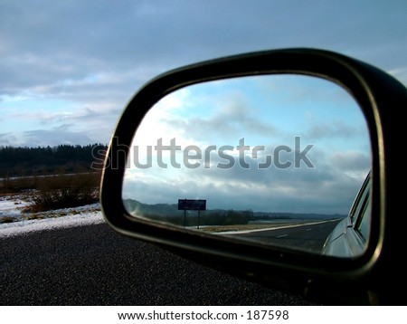 Rear road view - stock photo