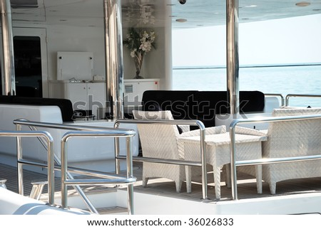 rear section of a yacht with table