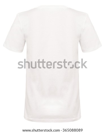 Rear view cut-out of a plain white t-shirt on an invisible mannequin. - stock photo