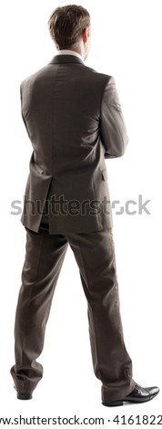 Rear view image of young male business executive isolated on white background - stock photo